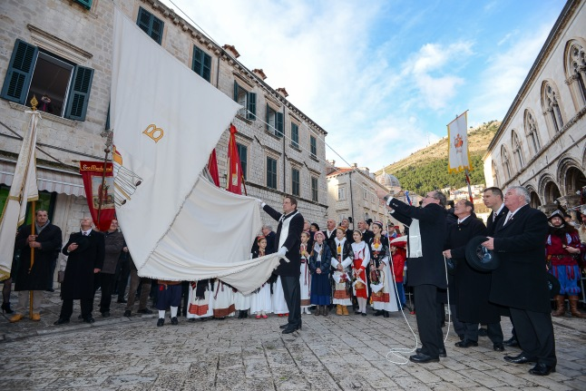 St. Blaise procession takes place through streets of Dubrovnik Old City, Croatia